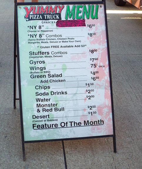 Yummy Pizza Truck's Menu