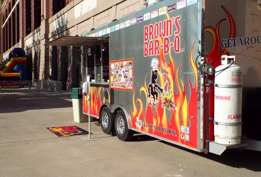 Brown's Bar-B-Q truck at Texas Food Truckin' Fest in Arlington, TX.